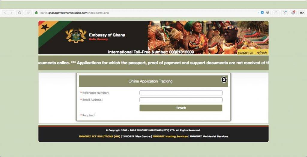 Status Ghana Visum Antrag online prüfen